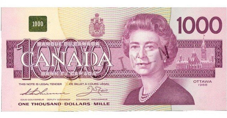 vieux billet de 1000$ 5000$ Canadien